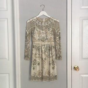 Needle & Thread Sequined Long Sleeve Dress